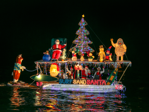 San Diego Parade of Lights boat decorated in holiday lights