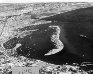 old picture of Shelter Island, where the Best Western Plus Island Palms in in now, in san diego california